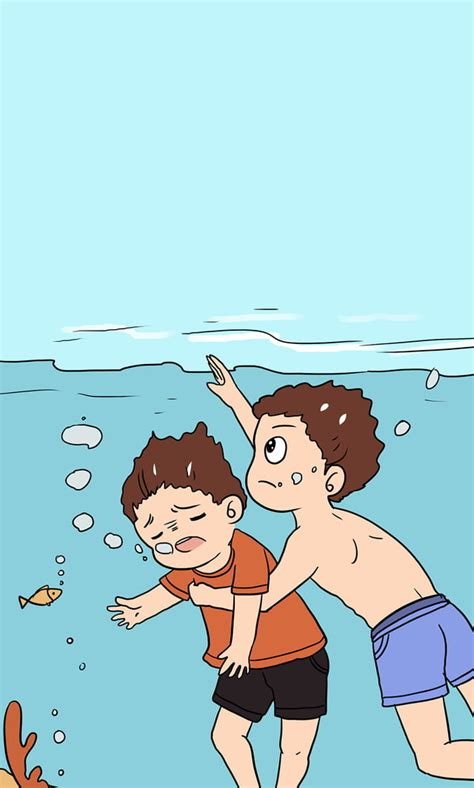 Child Safety Education Drowning Hand Painted Cartoon