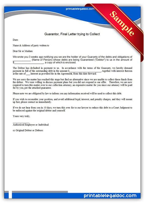 Free Printable Guarantor, Final Letter Trying To Collect