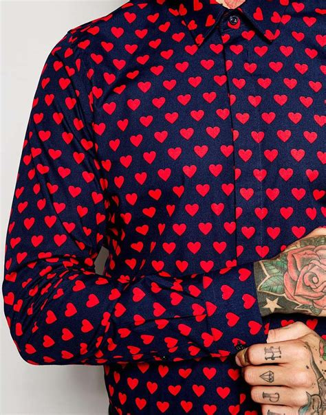 Noose and monkey Shirt With Hearts Print In Skinny Fit in