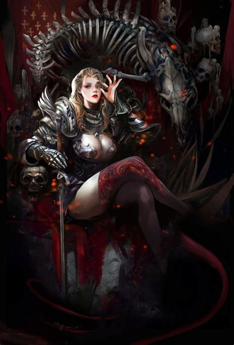 dark queen seated on throne with scepter in fantasy art