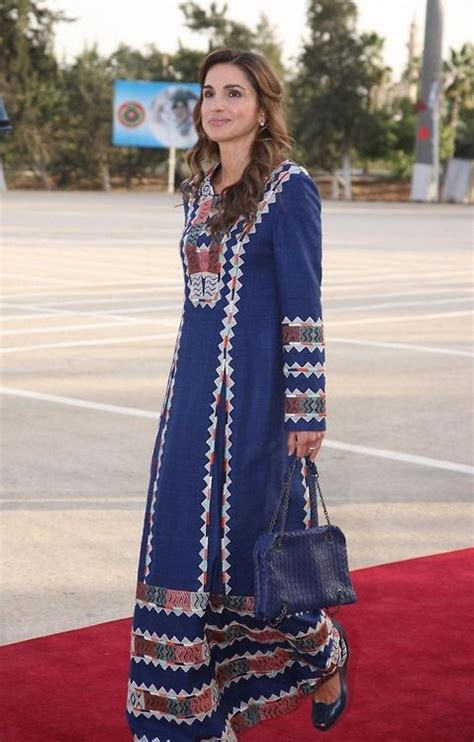 Queen Rania in a traditional dress for Armed Force Day